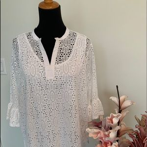White lacy with 3/4 bell sleeve top size large